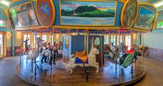 Grand Opening of the Adirondack Carousel in Saranac Lake, NY featuring hand carved indigenous animals