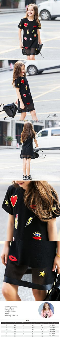 Super Sweet Appliques Black Short Sleeved Summer Dress Girl Teenage Dresses Girls Clothing Kids Clothes for kd 8 10 Years Old