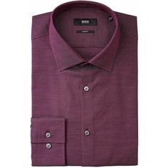 Slim Fit Dress Shirt ($140) ❤ liked on Polyvore featuring men's fashion, men's clothing, men's shirts, men's dress shirts, mens sport shirts, mens slim shirts, mens burgundy dress shirt, mens button shirts and mens slim fit shirts
