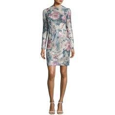 Galvan Sequined Long-Sleeve Mini Dress ($1,175) ❤ liked on Polyvore featuring dresses, desert rose, sheath dress, long sleeve mini dress, long sleeve sequin dress, white floral dress and floral dresses