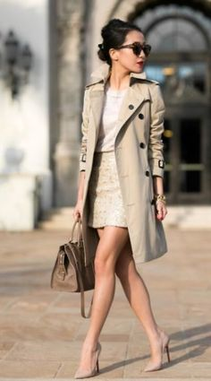 Great looking top, skirt and heels, topped with a lovely coat.