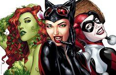 Download Wallpaper Harley Quinn, DC Comics, the game, art, cat woman, Harley Quinn, Poison, Catwoman, Selina Kyle, Pamela Lillian Isley, Pamela Lillian Isley, poison ivy,