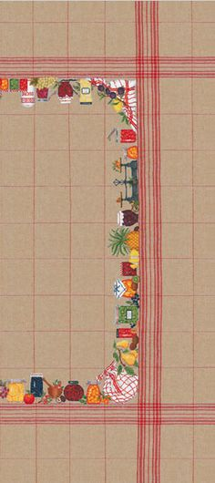 striped tablecloth design for Embroidery Kit Counted cross stitch model by Bonheur des Dames