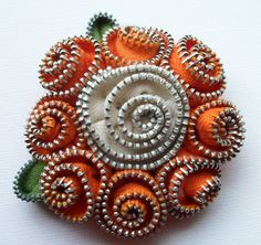 Orange and Creamy White Spiral  Floral Brooch / Zipper Pin by ZipPinning - 2770 by ZipPinning on Etsy