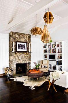 Fireplace + Hanging Lights