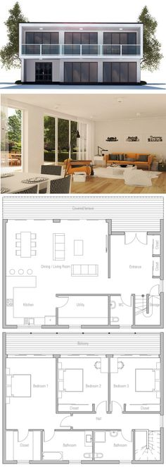 Small Modern Home Plan, House Plan Contemporary House Plans, Modern House Plans, Small House Plans, Modern House Design, Dream House Plans, House Floor Plans, Architecture Design, Modular Home Plans, Casas Containers
