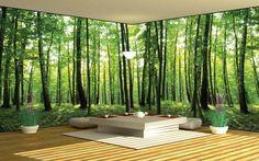 poster mural xxl en vert au motif végétation abondante