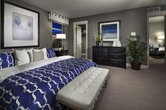 Grey, white and royal blue master suite. Smokey blue instead of royal ...