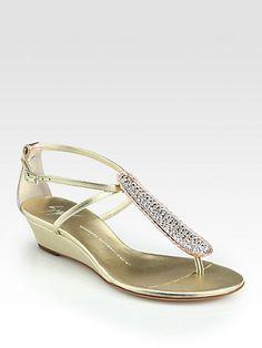 0a054d1de016  Giuseppe Zanotti - Crystal-Coated Metallic Leather Wedge Sandals Leather  Wedge Sandals
