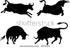 Raging texas longhorn bull silhouettes  #texaslonghorn #silhouette #illustration