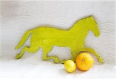 The Chartreuse Stallion Wooden rustic wall by thePaintedKitten, $32.00