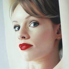Artist: Hubert de Lartigue {contemporary figurative realism art beautiful brunette female head underarms cropped woman face portrait #hyperreal painting detail} hubertdelartigue.com