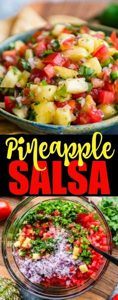 An easy recipe for Pineapple Salsa. Loaded with plenty of fresh pineapple tomatoes red onion jalapeos and cilantro this is your answer to spring and summer snacking! It's perfect with chips or on your favorite grilled meat and it's good for you! Meat Appetizers, Appetizer Recipes, Party Appetizers, Clean Eating, Healthy Eating, Dinner Healthy, Salsa Tomate, Salsa Guacamole, Salsa Salsa