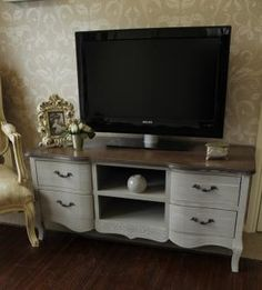 French Grey Range Large Tv Cabinet With Drawers