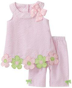 Bonnie Baby Baby Girls' Flower Applique Seersucker Capri Set, Pink, 24 Months