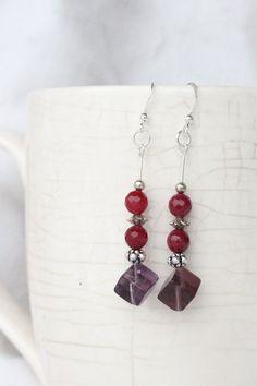 Modern Dangle Earrings Purple Fluorite Cubes and Ruby Beads Ruby Earrings Purple Fluorite Earrings Handmade Earrings For Her Bazaars R Us handmade USA