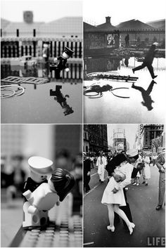 Classic photos redone in Lego by Mike Stimpson [Behind the Gare Saint-Lazarre by Henri Cartier-Bresson & VJ Day Times Square by Alfred Eisenstaedt]