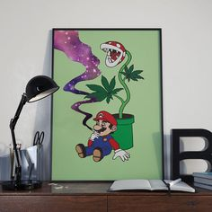 High Mario, Weed, Marijuana Art, Mario Galaxy Smoke, Nintendo, Game Art, Cannabis Art, Mario, Funny Art, Piranha plant Art, Smoke Weed, 8x10