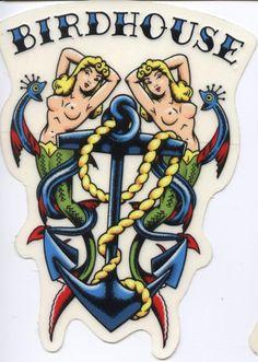 Birdhouse Skateboards Tattoo Sticker Tony Hawk · The Dark Slide · Online Store Powered by Storenvy Skateboard Tattoo, Skate Tattoo, Robot Tattoo, Skateboard Art, Tattoo Sticker, Logo Sticker, Birdhouse Skateboards, Traditional Tattoo Art, Skate Art