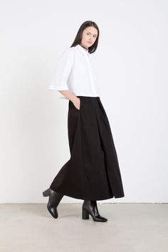 Long black A-line Skirt, by Oak and Fort