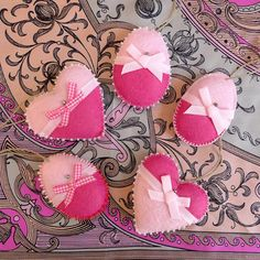 Pink Heart and Egg Easter Felt Ornaments Set of 5. $16.00, via Etsy.