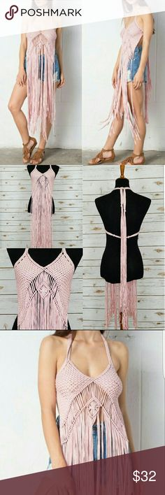 "❤JUST IN❤ CROTCHET FRINGE ""BOHO"" HALTER COVER UP CROTCHET FRINGE ""BOHO"" HALTER BIKINI COVER UP just SCREAMS VACATION!!!  ⛱  SPRING BREAK is coming Ladies! This Cover up is SO SOFT on the skin!  You'll LOVE IT! 😍 100% Handmade.  100% Cotton. ***PRICE IS FIRM*** Swim Coverups"