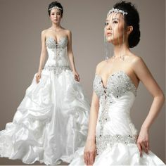 Designer Sexy White Beaded Corset Modern Bridal Wedding Dresses Gowns SKU-119100