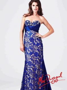 Prom Gown with Lace Detailing and High Slit   Mac Duggal 78439M