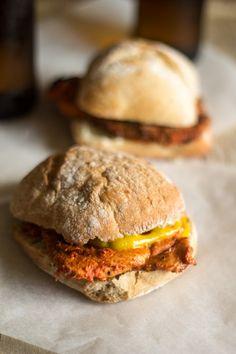 Portuguese Recipe: Massa de Pimentão and Bifana Sandwiches  Take a look at the red pepper sauce!