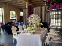 """""""White and Crystal Place Settings"""" Robertson's Flowers and Events"""