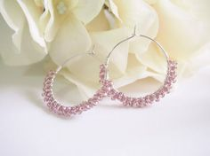 Etsy の Silver Hoop Purple Glass Beads Earring by KaoriDesign