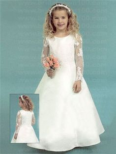 Long sleeved flower girl dress Satin Flowers cc96c441b49d