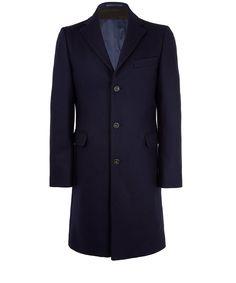 Acne Navy Garrett Wool Overcoat