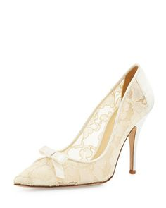 lisa lace & satin bow pump, ivory by kate spade new york at Neiman Marcus.