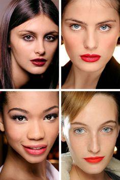 3x een terugblik met onderin de rode lip van 2012. Pro tip: Top lipstick with a matching powder pigment or blush for extra saturation—makeup artist Diane Kendal's technique at Thakoon.