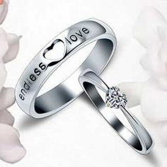 Sweet Carving Lover Letter Inlaid Heart Crystal Platinum Plate Rings for Couple  $36.69