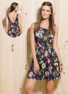 Vestido Evasê Decote Costas Floral - Posthaus