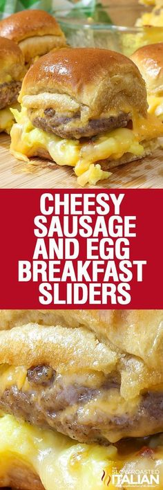 Cheesy Sausage and Egg Breakfast Sliders are a fully loaded perfectly portable h. - Cheesy Sausage and Egg Breakfast Sliders are a fully loaded perfectly portable hand held breakfast. Breakfast Items, Breakfast Dishes, Best Breakfast, Breakfast Recipes, Breakfast Sandwiches, Breakfast Casserole, Breakfast Burritos, Breakfast Crowd, Breakfast Sausages