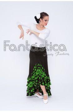 9025ccff55 Falda de Flamenca   Sevillana para Mujer con Volantes Color Negro Lunares  Verdes. Tienda Fantástica. Vestido ...