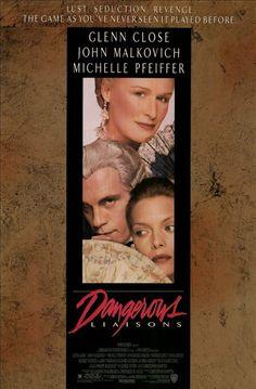 Dangerous Liaisons - stars Glenn Close, John Malkovich, Michelle Pfeiffer, Keanu Reeves, Uma Thurman