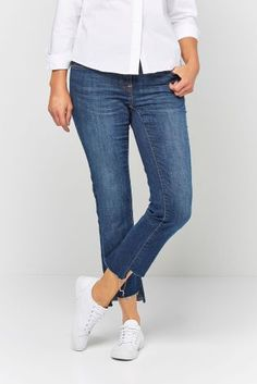 Dark Blue Step Hem Authentic Slim Jeans