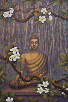 Nature de Bouddha. Méditation. Giclée print, moderne toile, peinture acrylique