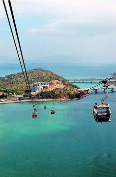 Hong Kong - Lantau Island - via cable car -Tian Tian Buddha, Hong Kong- Ngong Ping 360 cable car Shanghai, Beijing, Hong Kong, Places To Travel, Places To See, Travel Destinations, Vietnam, Thinking Day, China Travel