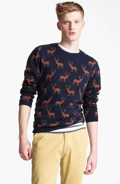 Topman 'All Over Stag' Cotton Crewneck Sweater. Nordstrom