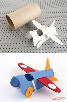 Toilet Roll Craft - A simple and cute aeroplane to hang on the Christmas tree, make a sweet mobile for the nursery or just for zooming around the house in the thrill-seeking hands of your little ones | MollyMoo