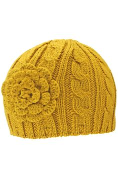 Beanie cap features an ultra soft & warm traditional cable knit pattern & is finished off with a matching knit rosette flower. There is plenty of stretch to this cap, ensuring a proper & comfortable f