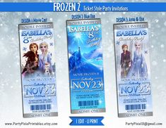 Frozen 2 Ticket Style Party Invitations - Personalized and Printable Digital Files - Frozen 2 Movie Elsa Anna Movie Invitation, Ticket Invitation, Invitation Design, Party Invitations, Frozen Party Bags, Printable Tickets, Thank You Party, Ticket Design, 2nd Birthday Parties