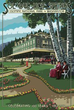 Sol Duc Hot Springs Hotel, Olympic National Park, Washington - Lantern Press Poster