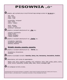 język polski - pisownia ó Learn Polish, Polish Language, School Notes, Just Love, Education, Learning, Kids, Valentines, Languages