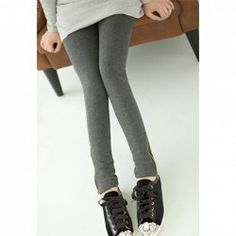 $7.09 Stylish Solid Color Slim-Fit Zipper Embellished Bottom Leggings For Women